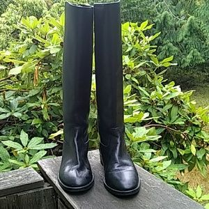 J Crew Tall black leather boots 1 inch heel